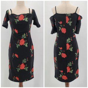 Nicole Miller New York Black Fitted Floral Dress 2